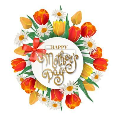 Bild Happy Mother's Day Frühling Hintergrund mit Tulpen und Kamille.