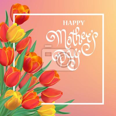 Bild Happy Mother's Day Frühling Hintergrund mit Tulpen und Rahmen.