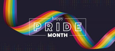 Bild Happy Pride month text and rainbow pride ribbon roll wave on circle dot texture and dark background vector design