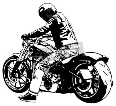 Bild Harley Davidson und Reiter - Schwarzweißabbildung, Vektor