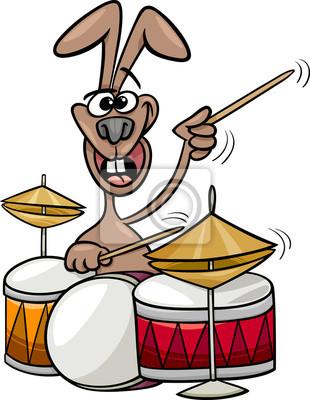 Hase Spielt Schlagzeug Cartoon Abbildung Leinwandbilder Bilder