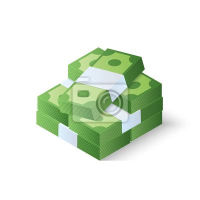 Bild Haufen Bargeld. Stapel Dollar. Isometrische Vektor-Illustration