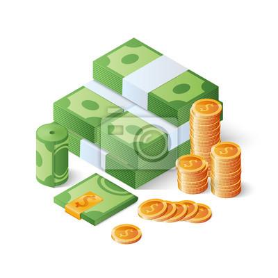 Bild Haufen von Bargeld und Goldmünzen. Haufen von Dollarnoten. Großes Geld Konzept. Isometrische Vektor-Illustration