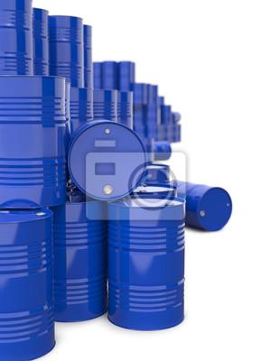Haufen von Blue Metal Oil Barrels.