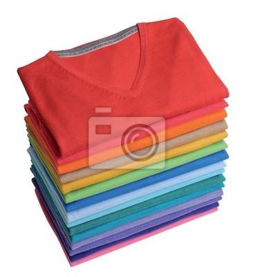 Bild Haufen von bunten t-shirts frisch aus der Wäsche gefaltet