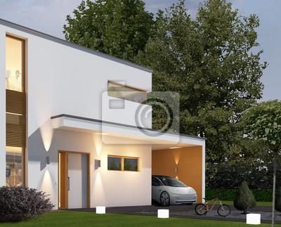 Haus Kubus 1 In Der Dammerung Mit Carport Und Elektroauto
