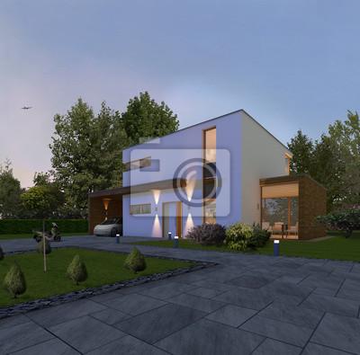 Haus Kubus 2 In Der Nacht Mit Holzleisten Ein Carport Und Anbau
