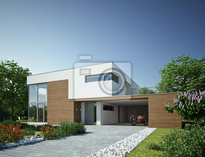Haus Kubus 3 Holz Mit Carport Leinwandbilder Bilder Neubau