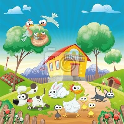 Haus mit Tiere . Cartoon-und Vektor-Illustration.