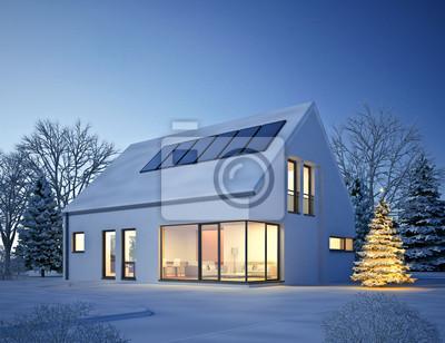 Haus Weihnachtsbeleuchtung.Bild Haus Moderne Winter