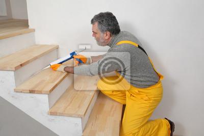 Haus Renovierung Abdichten Holztreppe Mit Silikon Leinwandbilder
