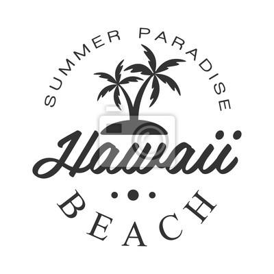 Hawaii-strand, sommer-paradies-logo-vorlage, schwarz-weiß-vektor ...