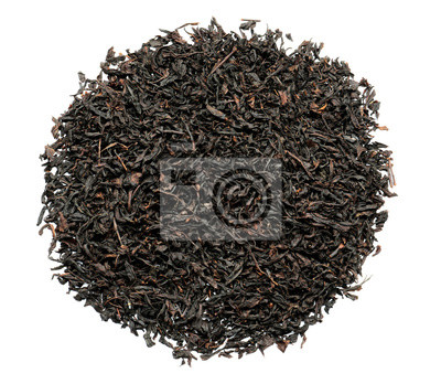 Bild Heap of dry black tea leaves on white background, top view