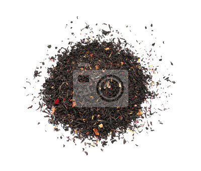 Bild Heap of dry black tea leaves with fruits and petals on white background, top view