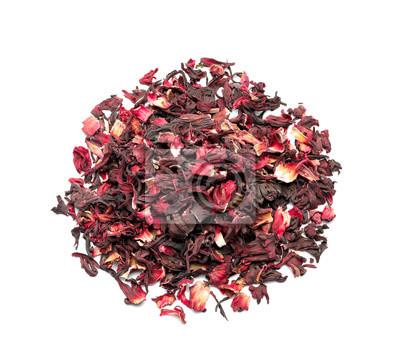 Bild Heap of dry hibiscus tea on white background