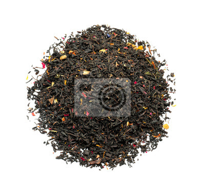 Bild Heap of dry tea leaves with flower petals on white background