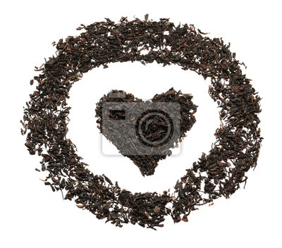 Bild Heart and circle made of dry black tea leaves on white background, top view