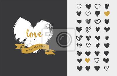 Bild Heart Icons, von Hand gezeichnet Symbole zum Valentinstag und Hochzeit
