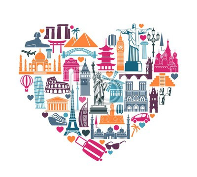 Heart of symbols Icons world tourist attractions and architectural landmarks