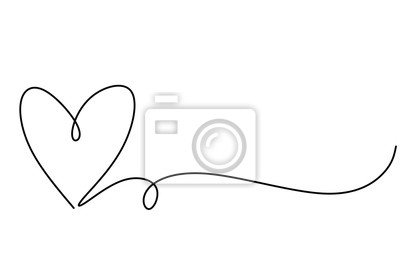 Bild Heart one line drawing symbol of love. Vector continuous hand drawn sketch minimalism illustration isolated on white background.