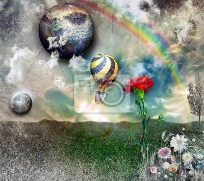 Heißluftballon im Flug mit Regenbogen
