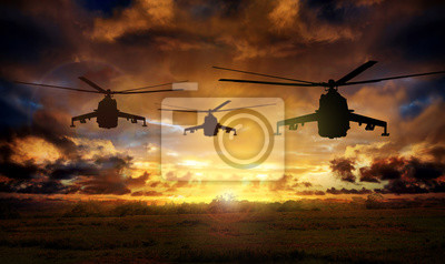 Bild Helicopter silhouettes on sunset background