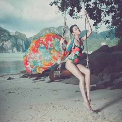 Bild Helle Dame am Strand