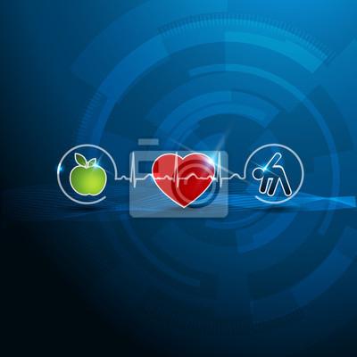 Helle kardiologie symbole, gesund leben-konzept leinwandbilder ...