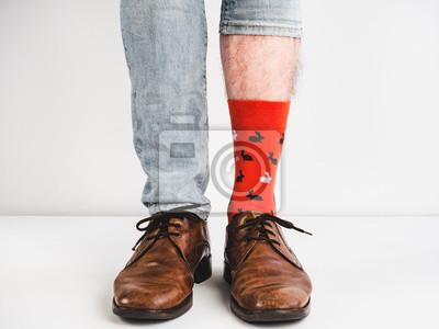 Helle Lustige Socken Weinlese Braune Schuhe Und Die Füße Der