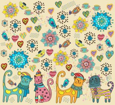 Bild Heller Hintergrund mit Katzen, Blumen und Herzen