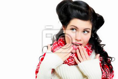 helles Bild der Frau überrascht Gesicht über weißem
