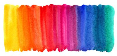 Bild Helles buntes Aquarell befleckt Hintergrund. Mehrfarbiger Bürstenanschlag lokalisiert auf Weiß. Klare Aquarellstreifen der verschiedenen Regenbogenfarbbeschaffenheit. Gemalte abstrakte Schablone mit u