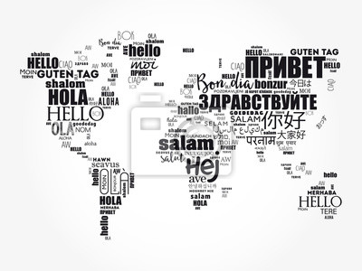 Bild Hello in different languages word cloud World Map, business concept background