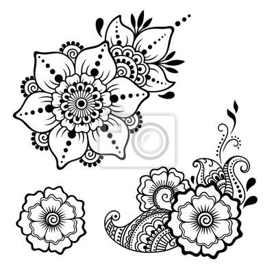 Henna tattoo blume vorlage. mehndi-stil. satz von ornamentalen ...