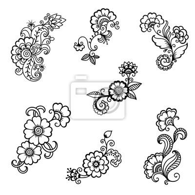 Henna Tattoo Blume Vorlage Mehndi Stil Set Von Ornamentalen