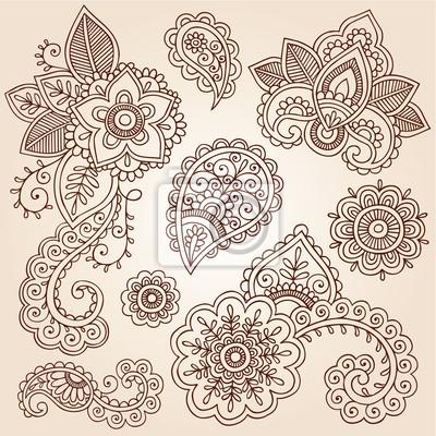 Henna Tattoo Paisley Mandala Doodles Vektor Design Elemente