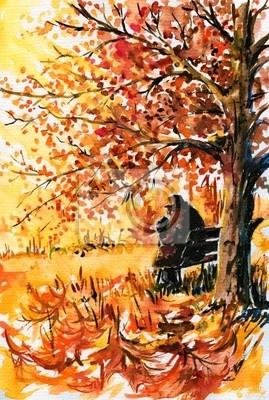 Herbst-alt, einsamer Mann auf der Bank.