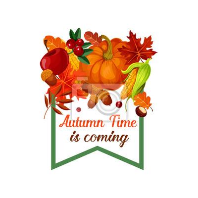 Herbst Ernte Vektor Kurbis Blatt Poster Leinwandbilder Bilder