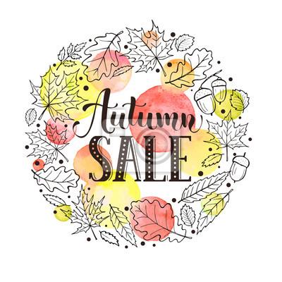 Herbst Verkauf Banner Vorlage Advertisment Karte Mit Hand Zeichnen