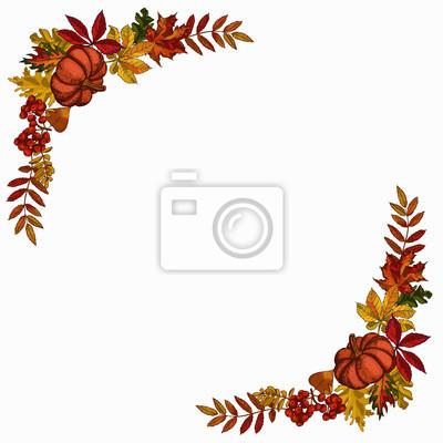 Herbst Verlässt Rahmen Vorlage Herbstliche Umrandung Mit Blättern