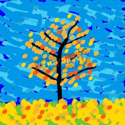 Bild Herbstlandschaft im Stil des Impressionismus. Abbildung.