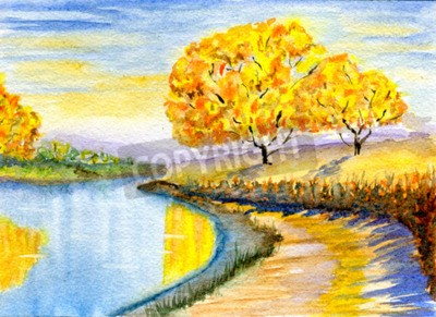 Bild Herbstlandschaft, von Hand gezeichnet, Aquarellabbildung und Papierbeschaffenheit