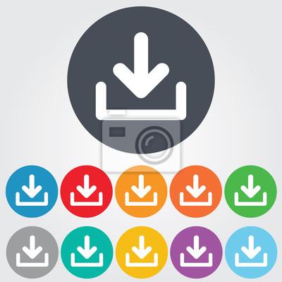 Herunterladen icon. upload-schaltfläche. ladesymbol. runde bunte ...