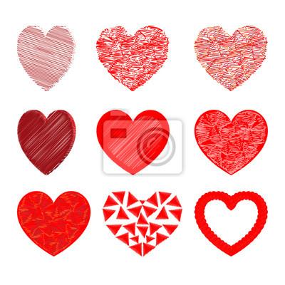 Herz Fur Valentinstag Rote Farbe Gesetzt Leinwandbilder Bilder