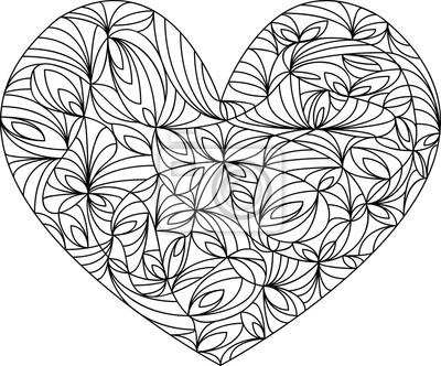Herz mandala, vorlage malbuch für erwachsene, meditationshilfe ...