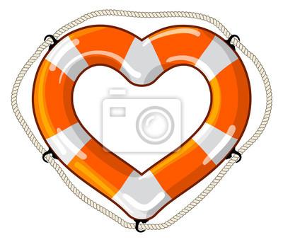 Herz-Vektor isoliert Rettungsring