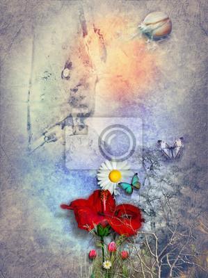 Hibiscus in der Aquarell-Hintergrund