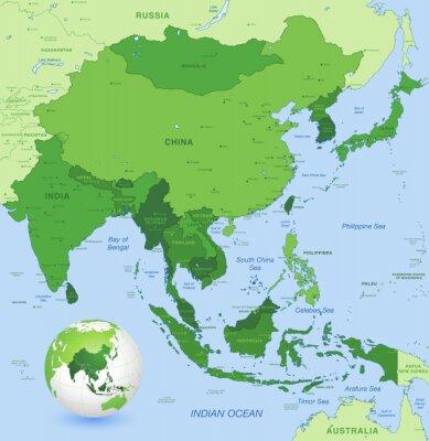 Bild High Detail Vektor-Karte von Far East Asia