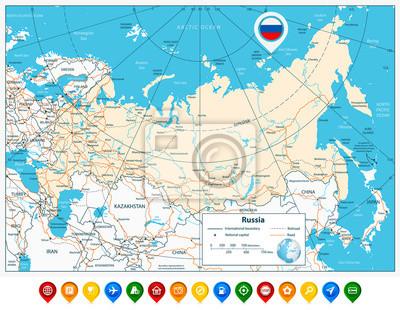 Karte Russland.Bild High Detaillierte Russland Strassenkarte Und Bunte Karte Zeiger