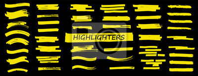 Bild Highlighters set. Vector Brush lines. Marker color stroke. Yellow watercolor hand drawn highlight set. Brush pen hand drawn underline. Vector graphic stylish element. Marker lines collection